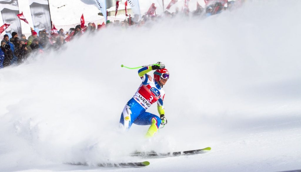 Ski racer at finish line